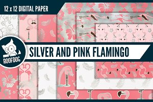 Pink and silver flamingo patterns