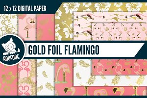 Gold foil flamingo digital paper