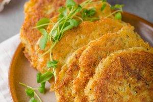Delicious original schnitzel with potato pancakes