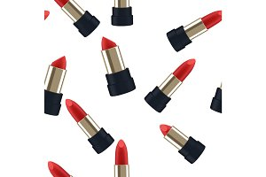 Pattern seamless Red lipstick 3d illustration of a beautiful vector illustration