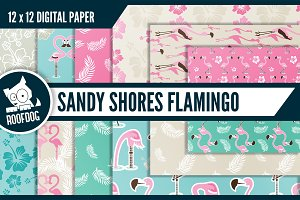 Tropical beach flamingo pattern