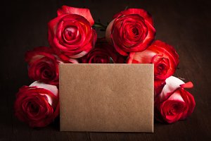 Roses and card