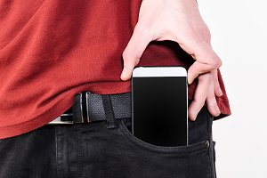 Mobile phone in a pocket