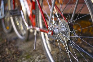 close up photo of bicycle wheels