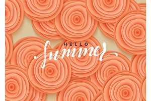 Hello summer banner. Flowers beautiful roses in the style of paper art illustration