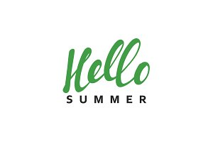 Lettering Hello Summer calligraphy hand drawn.