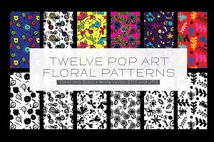 Twelve Pop Art Floral Patterns