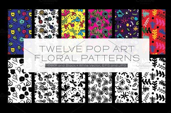 Twelve Pop Art Floral Patterns
