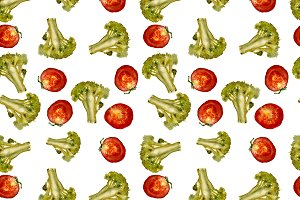 Broccoli and tomato pattern