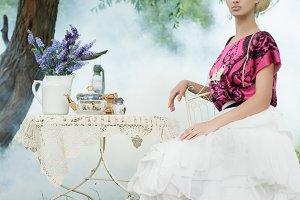 Romantic woman at picnic