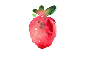 Red berry strawberry Hand painted watercolor illustration.