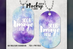 Two sided dog tag mockup