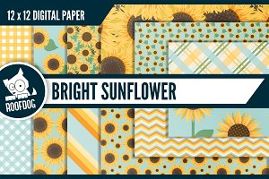 Bright sunflower digital paper