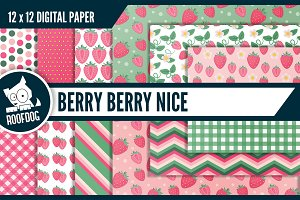 Pink strawberry digital paper