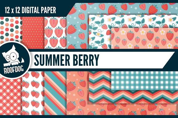 Summer Strawberry Digital Paper