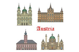 Austrian travel landmarks of architecture icon set