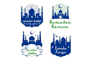 Vector mosque icons for Ramadan Kareem greetings