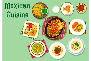 Mexican cuisine traditional food icon