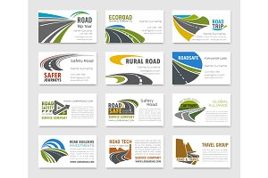 Business card template with road and highway