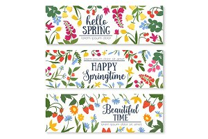 Spring floral banner with flower and berry frame