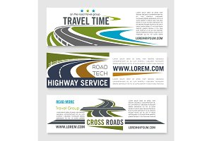Road travel and highway service banner template