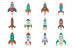 Retro space rocket ships.