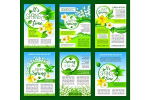 Spring flower, green leaf poster template design