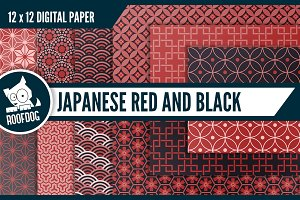Red and black Japanese patterns