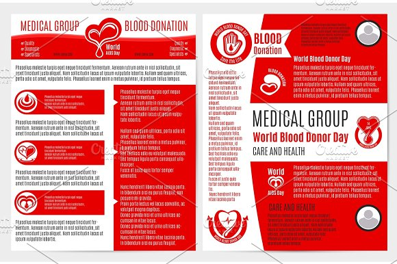 blood donation medical brochure poster template graphic objects