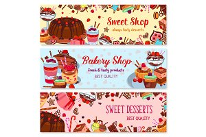 Bakery and sweet shop, ice cream cafe banner set
