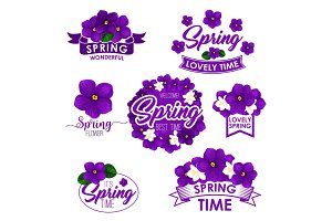 Vector springtime greeting quotes flowers design