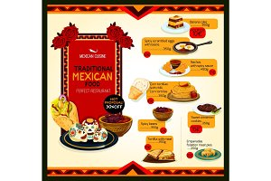 Mexican cuisine menu special offer poster template