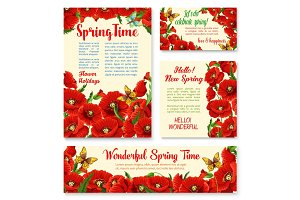 Springtime floral banner, greeting card template