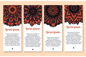 Paisley floral ornament banner set for card design