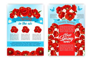 Spring flower poster for springtime holiday design