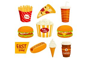 Fast food sandwich, drink, snack icon set