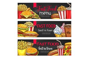 Fast food lunch meal with drinks chalkboard banner
