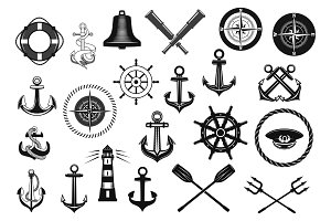 Nautical icon set with anchor, helm and rope