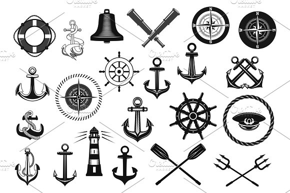 Nautical Icon Set With Anchor Helm And Rope