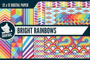 Bright rainbow digital paper