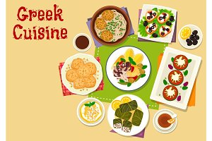Greek cuisine healthy dishes icon design