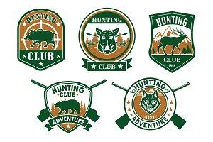 Hunting club sporting badge set design