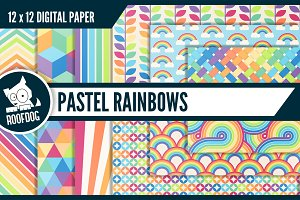 Pastel rainbow digital paper