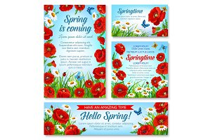 Hello Spring and springtime holidays floral banner