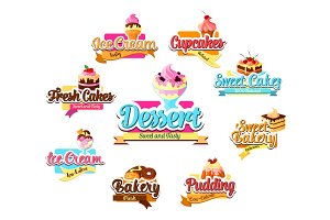 Bakery dessert, pastry and ice cream symbol set