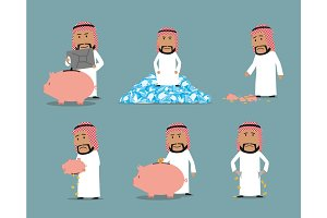 Rich and bankrupt arab businessman character set
