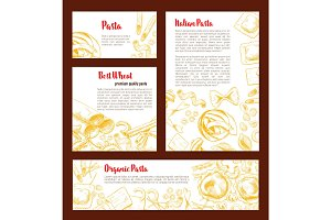 Italian pasta banner template set for food design