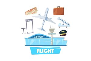 Airport and flight service icon for travel design