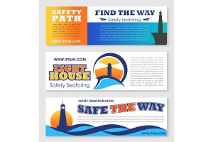 Sea transportation safety banner with lighthouse