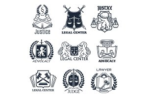 Law firm, lawyer office, legal center icon design
